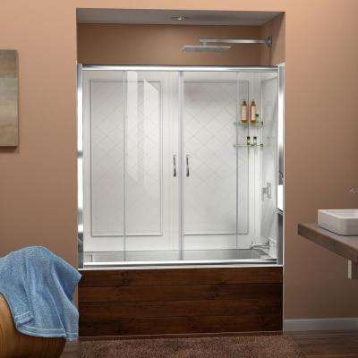 Visions 60 in. x 60 in. Framed Sliding Tub/Shower Door in Chrome and Backwall with Glass Shelves