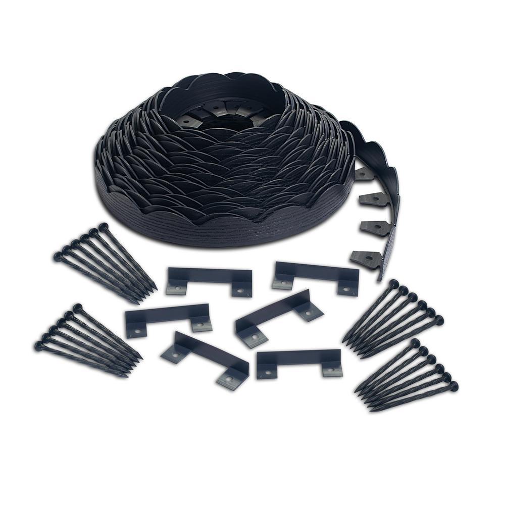 2 in. x 100 ft. Black Polyethylene Scalloped Woodgrain No-Dig Edging Kit