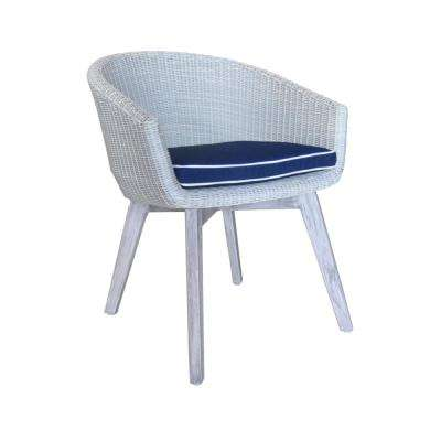 La Jolla Collection Teak Round Outdoor Dining Chair with Navy Cushions
