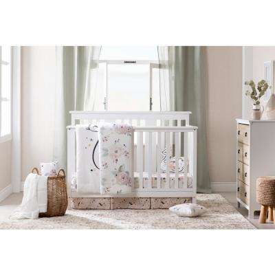 DreamIt 4-Piece White and Pink Floral Twin Baby Bedding Set