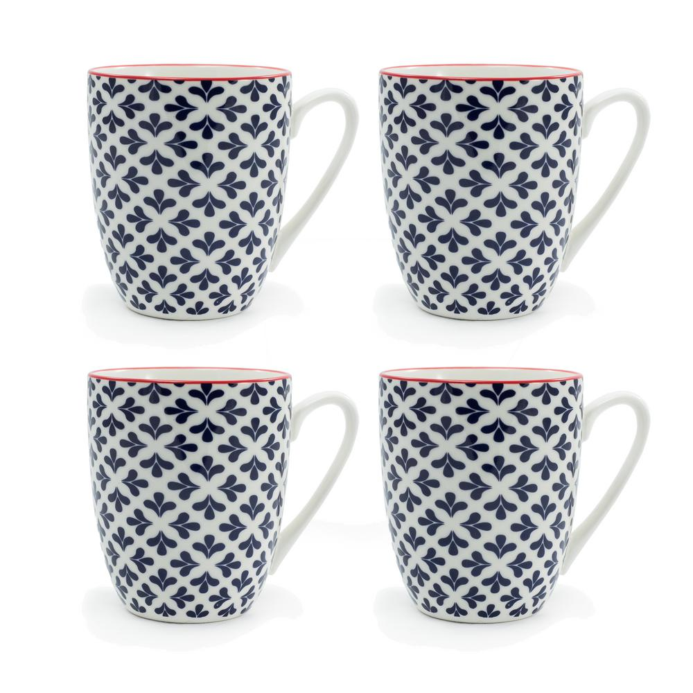 Serena Blue 12 oz. Porcelain Mug (Set of 4)