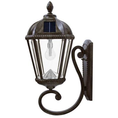 Royal Bulb Series 1-Light Weathered Bronze Outdoor Integrated LED Solar Wall Lantern Sconce