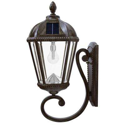 Royal Bulb Series 1-Light Weathered Bronze Outdoor Integrated LED Solar Wall Mount Lantern