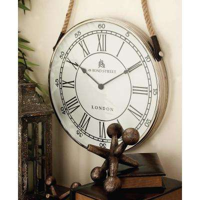 28 in. x 18 in. Traditional Aluminium and Stainless Steel Round Wall Clock