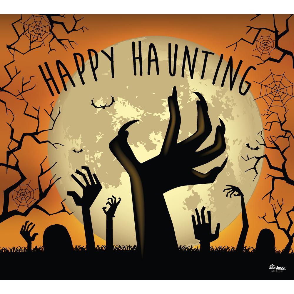 7 ft. x 8 ft. Happy Haunting Graveyard Zombie Hands Halloween Garage Door Decor Mural for Single Car Garage