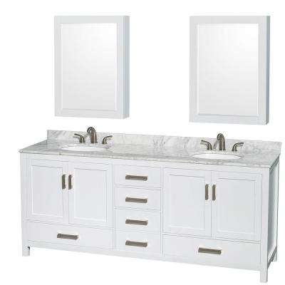 Sheffield 80 in. Double Vanity in White with Marble Vanity Top in Carrara White and Medicine Cabinets