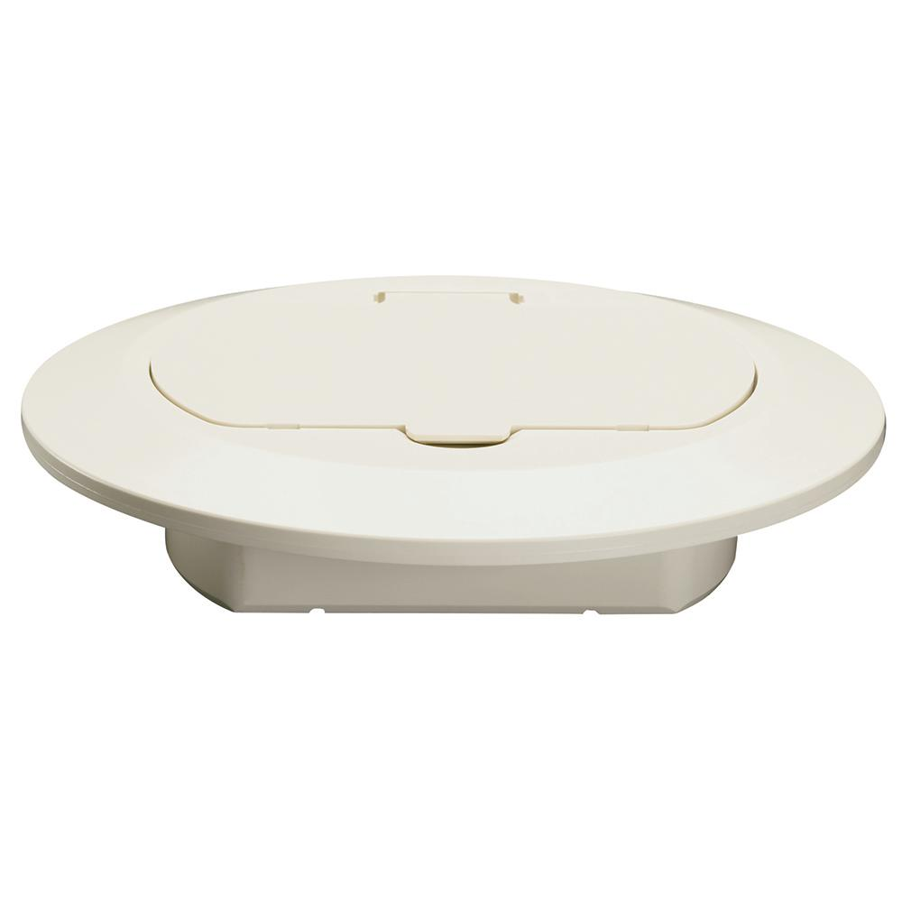 Legrand Pass Seymour Slater 1 Gang Round Thermoplastic Floor Box Cover Light Almond Tm1542trla The Home Depot