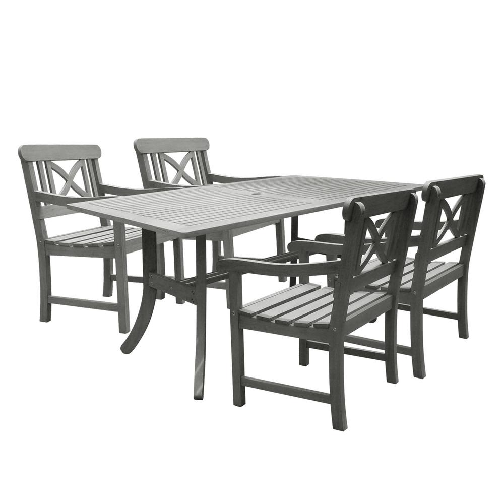 Vifah Renaissance Acacia 5 Piece Patio Dining Set With 35 In. W Table And