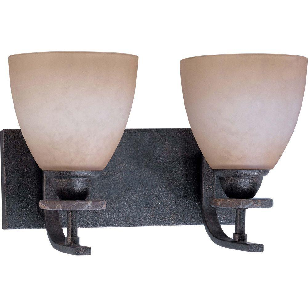 Glomar Madison Ledgestone 2 Light Vanity With Toffee Crunch Glass -DISCONTINUED