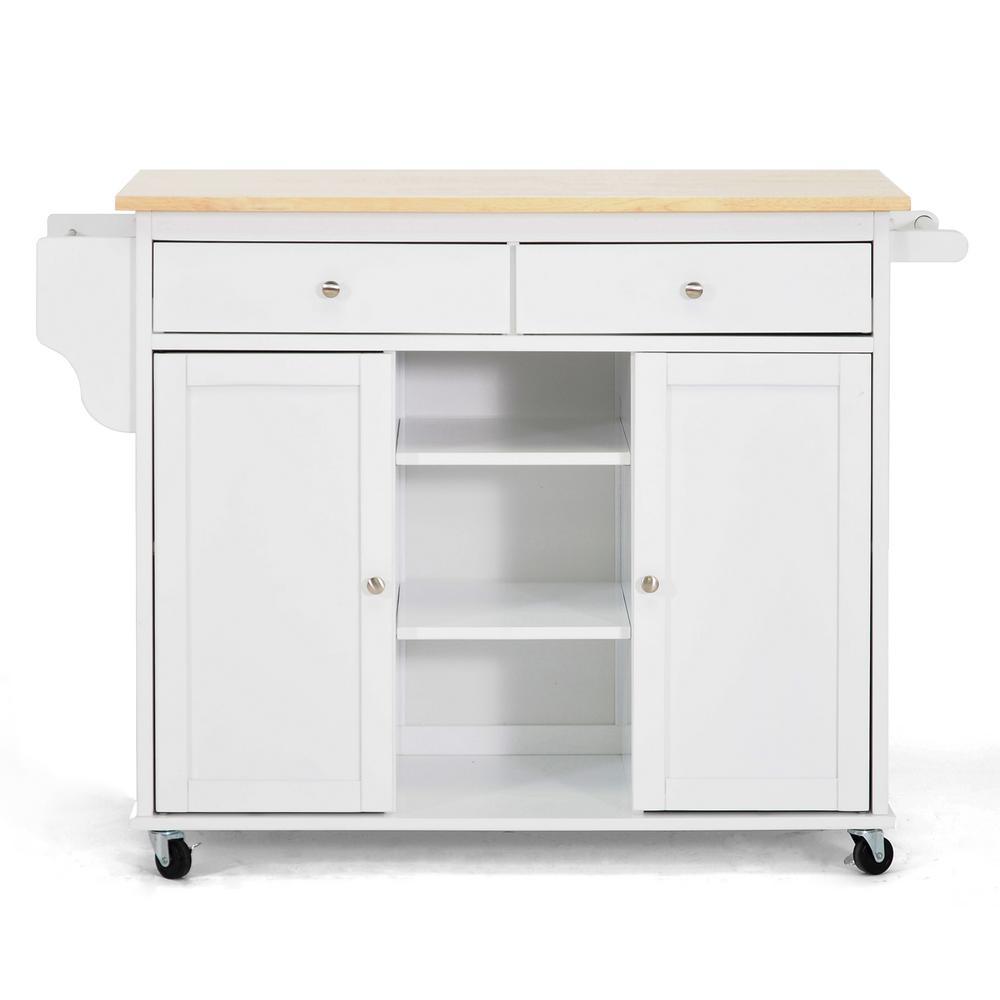 Meryland White Kitchen Cart with Storage