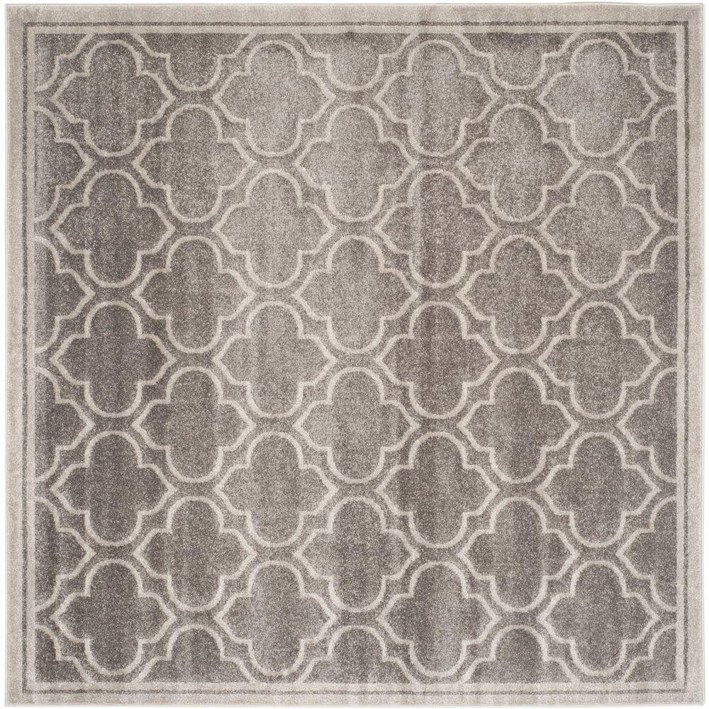 Amherst Gray/Light Gray 7 ft. x 7 ft. Indoor/Outdoor Square Area