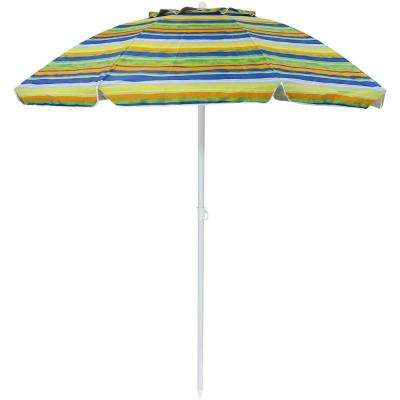 6 ft. Tropical Fusion Stainless Steel Tilt Beach Umbrella in Green