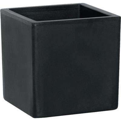 Toscana 15 in. Smoke Plastic Cube Patio Planter