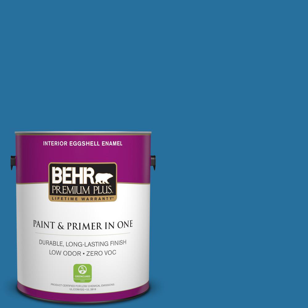 BEHR Premium Plus 1-gal. #550B-7 Blue Ocean Zero VOC Eggshell Enamel Interior Paint