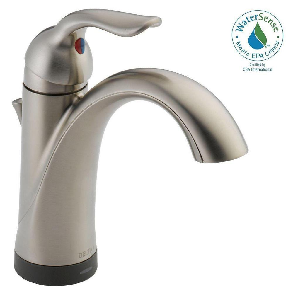 Delta Lahara Single Hole Single-Handle Bathroom Faucet with Touch2O.xt Technology in Stainless