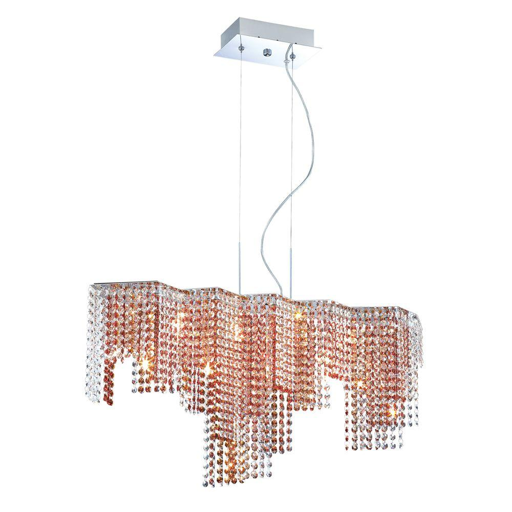 Eurofase Celestino Collection 9-Light Chrome and Amber Pendant-DISCONTINUED