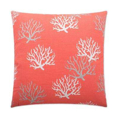 Isadella Salmon Feather Down 24 in. x 24 in. Standard Decorative Throw Pillow