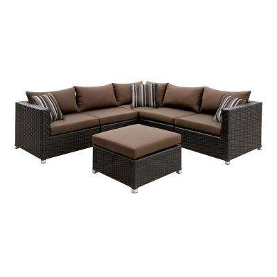 Corbyn 2 Piece Patio Seating Set With Brown Cushions