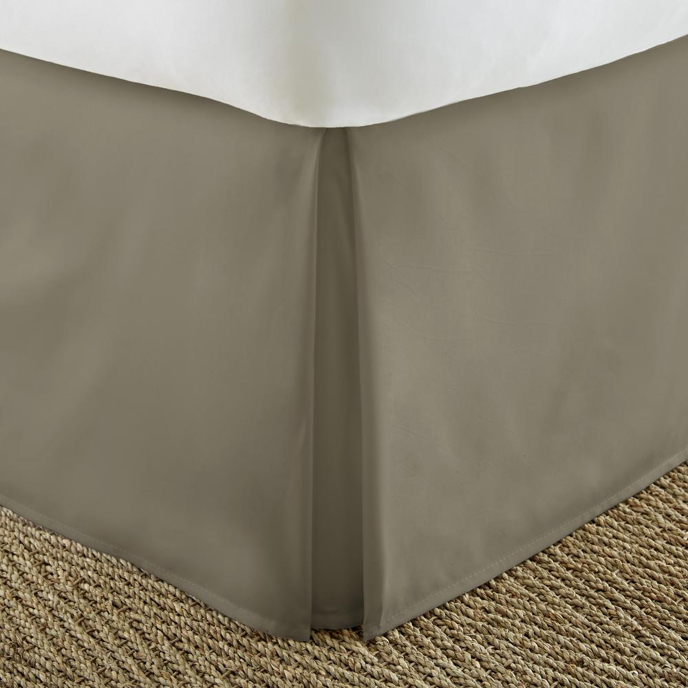 Becky Cameron Pleated Dust Ruffle Taupe Queen Performance Bed Skirt