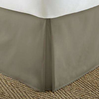 Pleated Dust Ruffle Taupe Queen Performance Bed Skirt