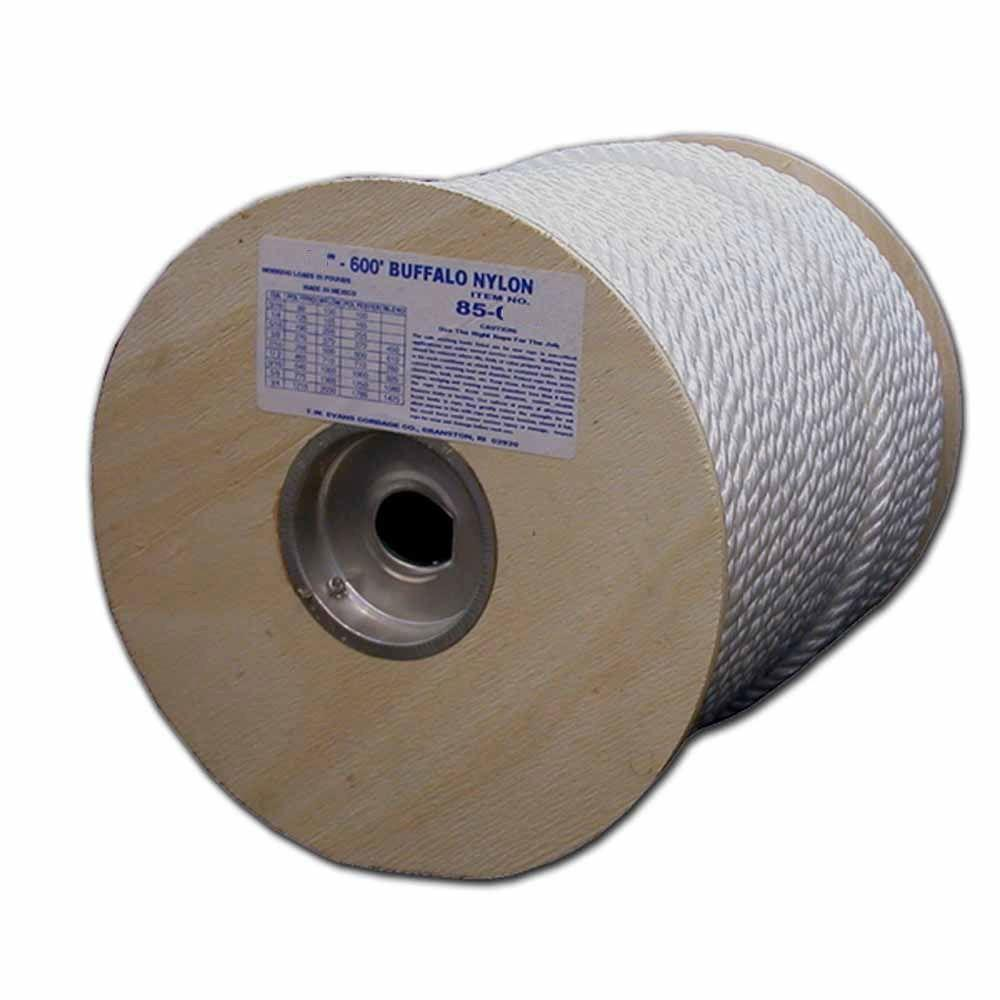 3/8 in. X 600 ft. Twisted Premium Nylon Rope Reel, Whites