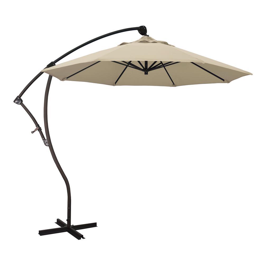 9 ft. Bronze Aluminum Cantilever Patio Umbrella with Crank Open 360  Rotation in Antique Beige Sunbrella