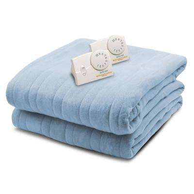 1004 Series Comfort Knit Heated 100 in. x 90 in. Cloud Blue King Size Blanket