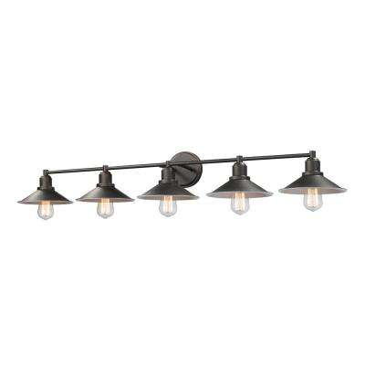 Cortez 5 Light Olde Bronze Bath With Steel Shade