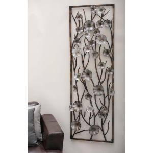24 inch x 72 inch Modern Brown and Gray Iron Flower and Vine Wall Decor by