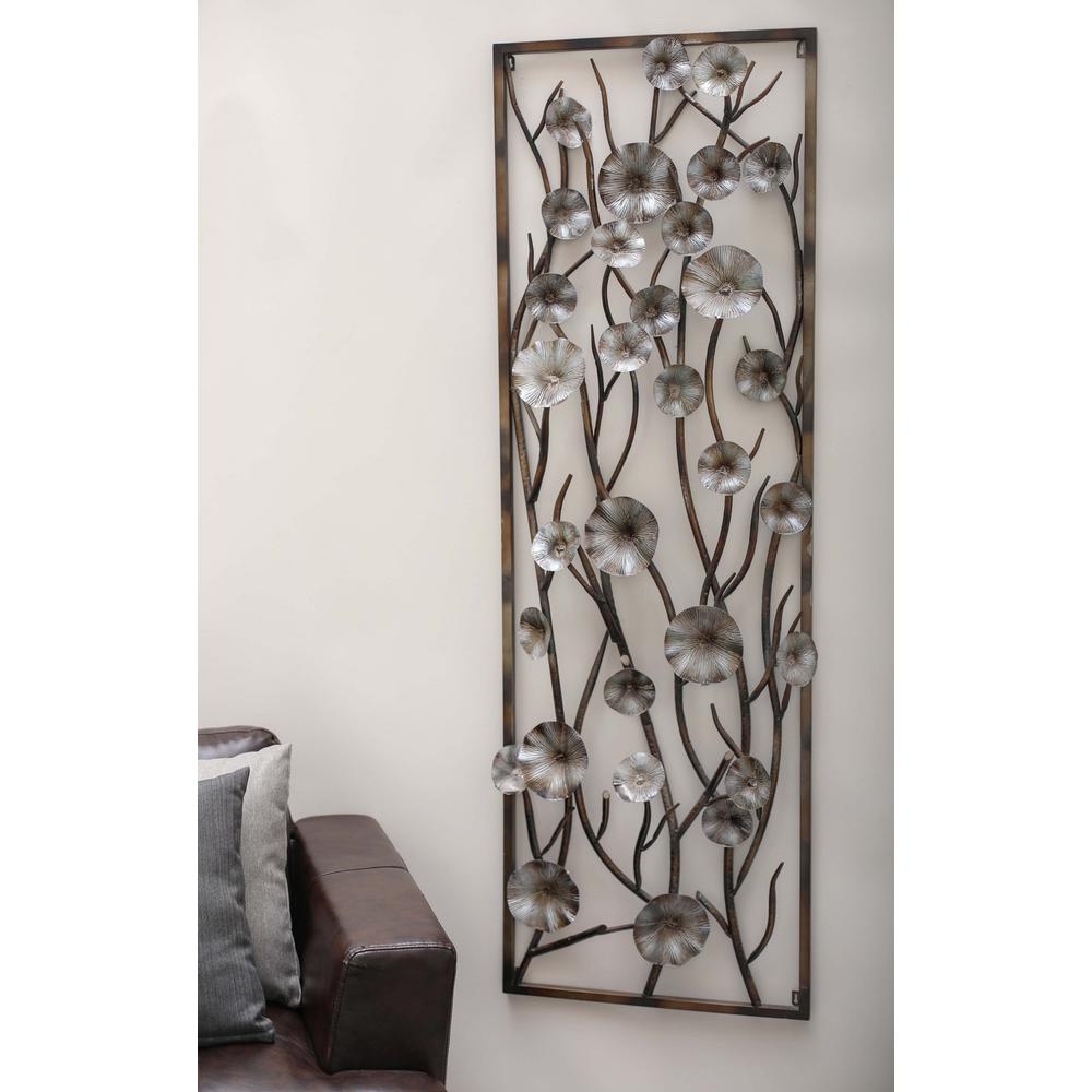 24 in. x 72 in. Modern Brown and Gray Iron Flower and Vin...
