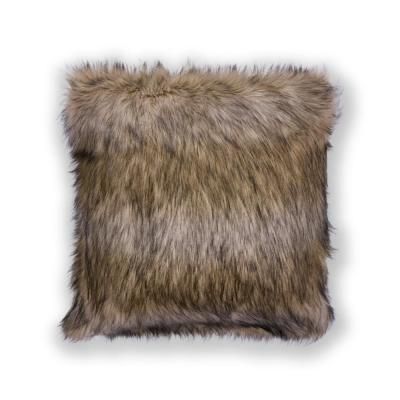 Exotic Shag Brown Solid Hypoallergenic Polyester 20 in. x 20 in. Throw Pillow