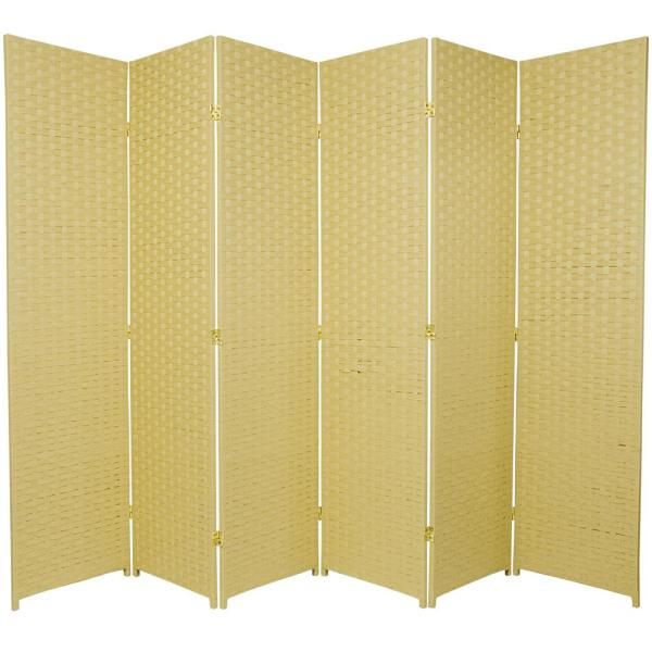 Oriental Furniture 6 ft. Dark Beige 6-Panel Room Divider SSFIBER-6P-DBG