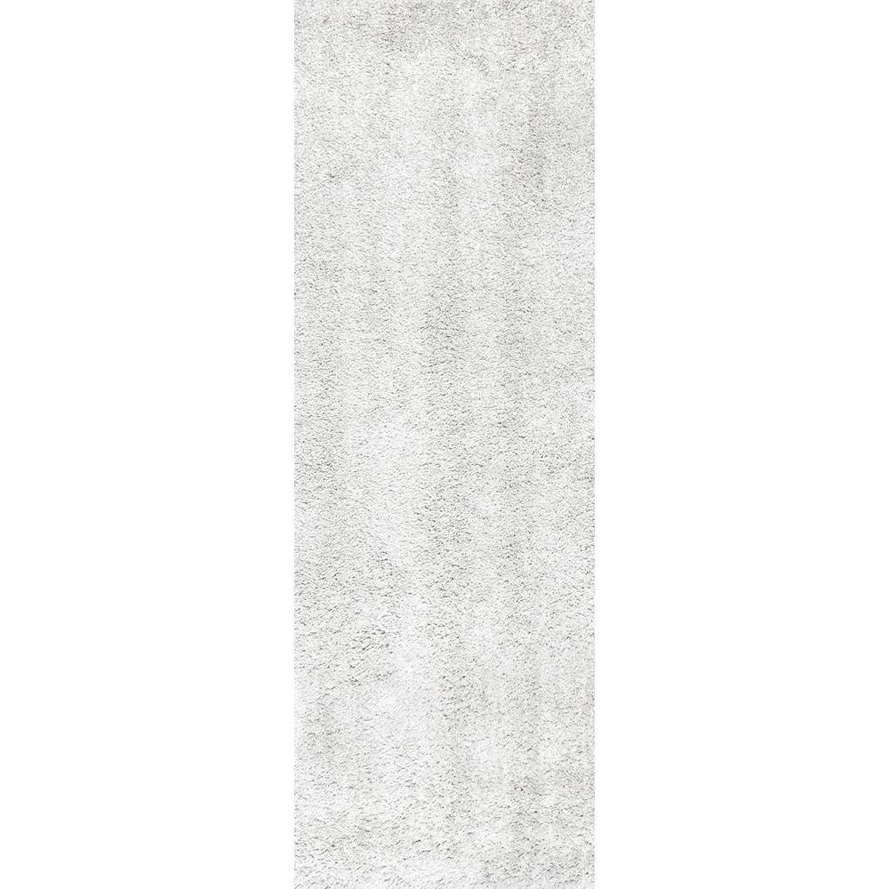 Kara Solid Shag Ivory 2 ft. 8 in. x 6 ft. Runner Rug