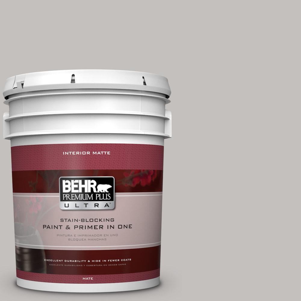 BEHR Premium Plus Ultra 5 gal. #PPU18-10 Natural Gray Flat/Matte Interior Paint
