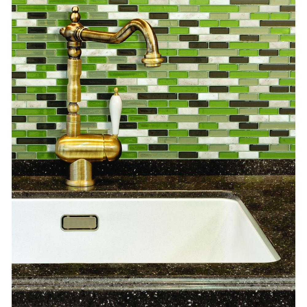 Light Green Backsplash: Smart Tiles Muretto Eco 10.20 In. W X 9.10 In. H Peel And