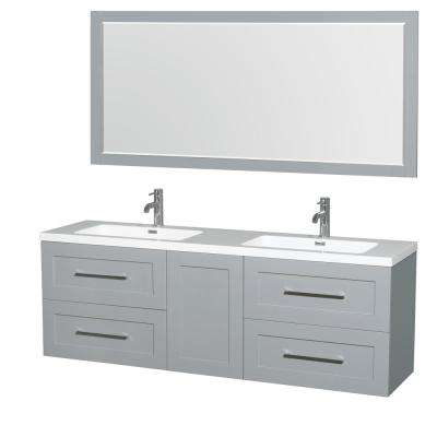 Olivia 72 in. W x 19 in. D Vanity in Dove Gray with Acrylic Vanity Top in White with White Basins and 70 in. Mirror