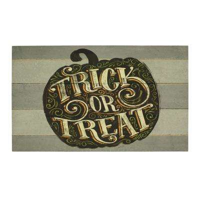 Fright Night Pumpkin 18 in. x 30 in. Elegant Entry Door Mat
