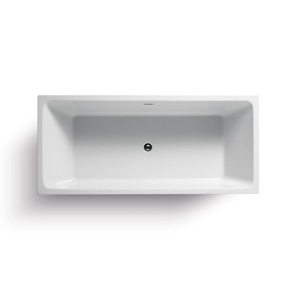 Wet Republic Onsen 5.9 Ft. Lucite Acrylic Rectangular Flatbottom Bathtub In  White