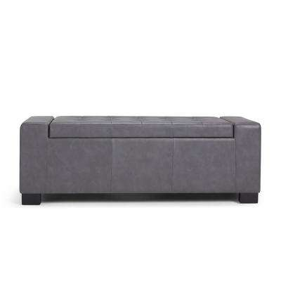 Laredo Stone Grey Large Storage Ottoman Bench