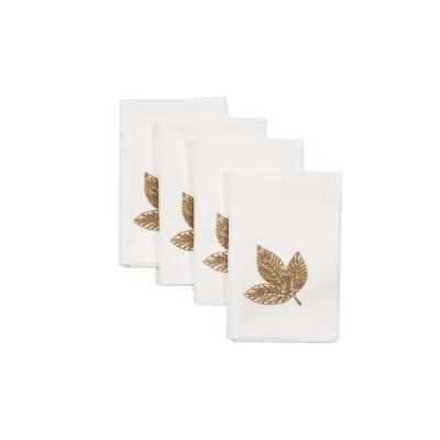 0.1 in. H x 20 in. W x 20 in. D Autumn Leaves Napkins in White (Set of 4)