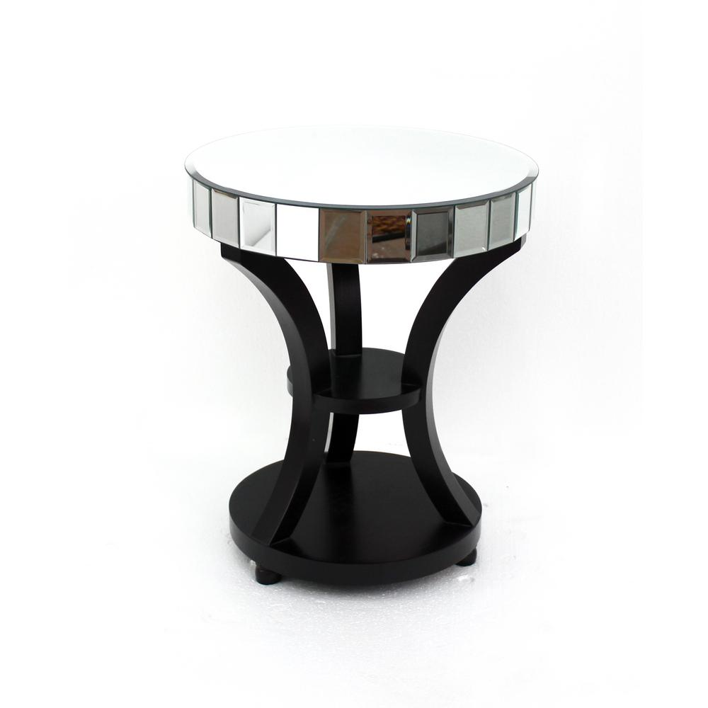 Black Wood Mirror End Table
