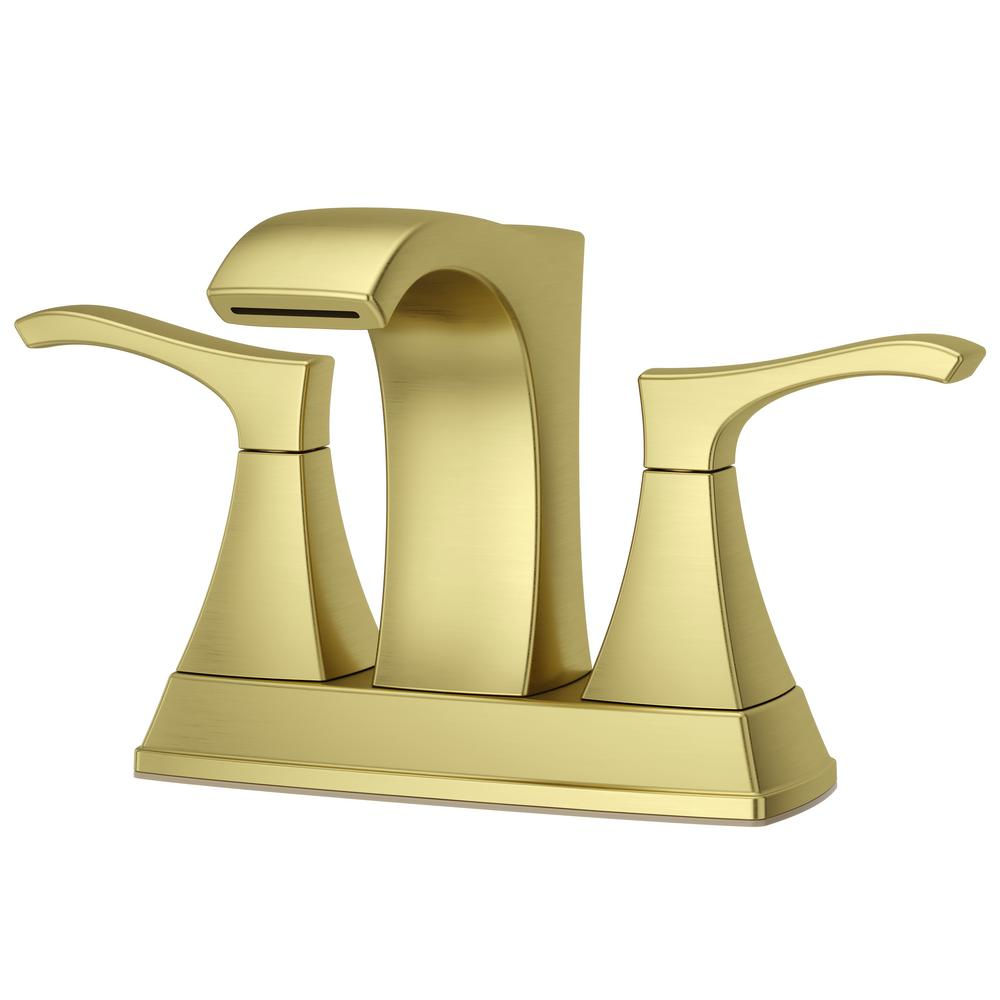 Pfister Venturi 4 in. Centerset 2-Handle Bathroom Faucet in Brushed Gold