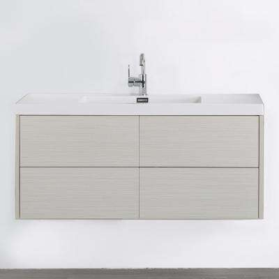 47.2 in. W x 19.5 in. H Bath Vanity in Gray with Resin Vanity Top in White with White Basin