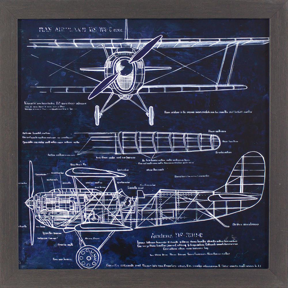 Decor therapy 18 in x 18 in aeroplane blueprint printed framed decor therapy 18 in x 18 in aeroplane blueprint printed framed wall art malvernweather Image collections