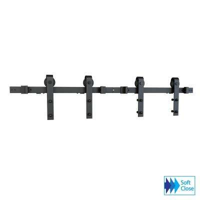 Soft Close Black Solid Steel Sliding Rolling Barn Door Hardware Kit for Double Wood Doors