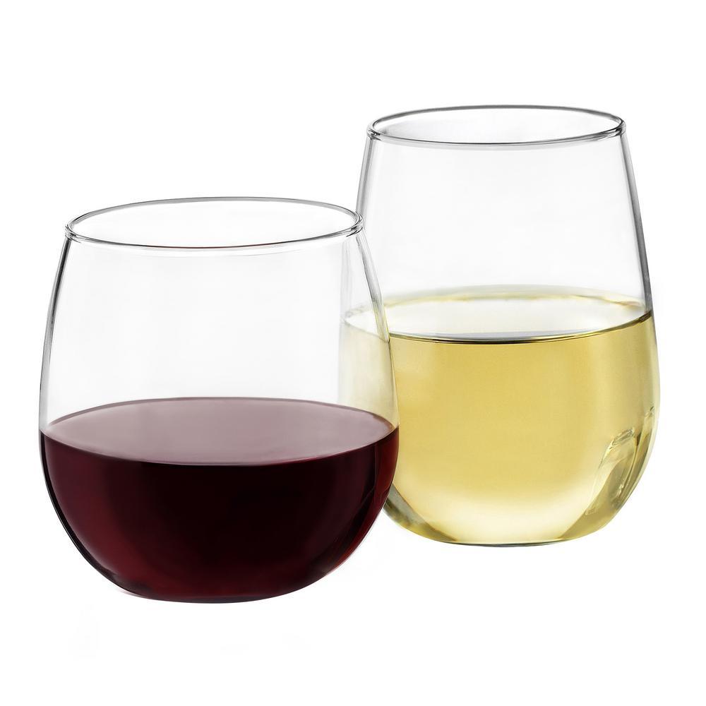 Libbey Stemless 20 fl. oz. and 17 fl. oz. Wine Glass Set (12-Pack)