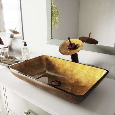 Rectangular Glass Vessel Bathroom Sink in Copper with Waterfall Faucet Set in Oil Rubbed Bronze
