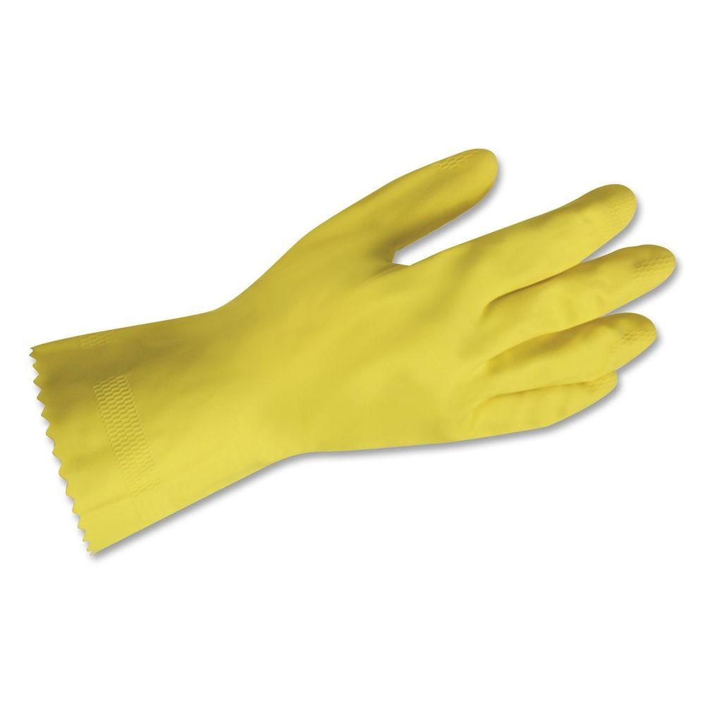 PROGUARD Flock-Lined Latex Gloves (24 per Pack), Yellow