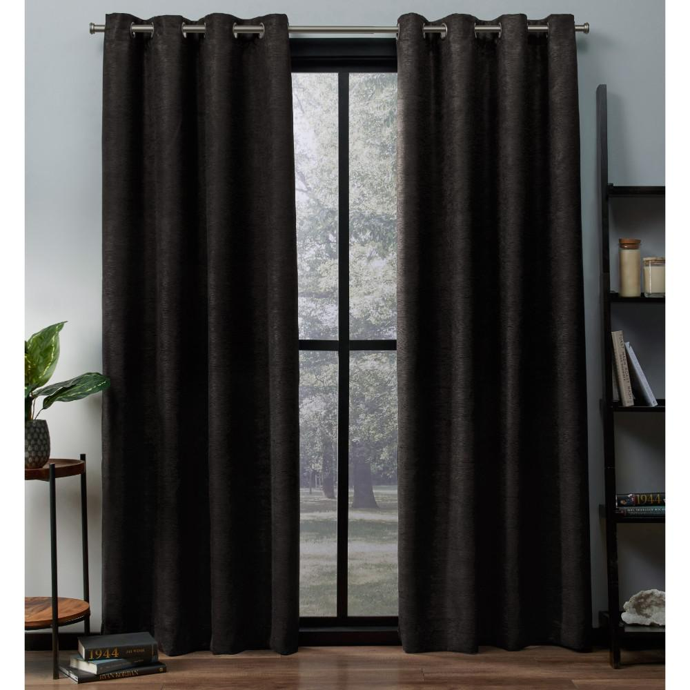 Oxford 52 in. W x 84 in. L Woven Blackout Grommet Top Curtain Panel in Espresso (2 Panels)