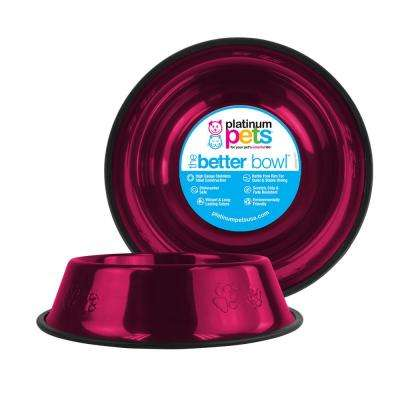Platinum Pets 6.25 Cup Embossed Non-Tip Stainless Steel Dog Bowl, Raspberry Pop